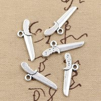 Wholesale Cents Charms dagger knife Antique Making pendant fit Vintage Tibetan Silver DIY bracelet necklace