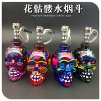 Wholesale 2016 newest skull glass smoking pipes Flower skull bongs Filter glass pot of water pipe mm height colors