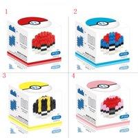 Wholesale 4 Designs Poke Mon Ball Building Blocks Pokémon go Blocks Intelligence Educational Toys Diamond POKE Blocks Toys Box For Chirstmas Toys Gift