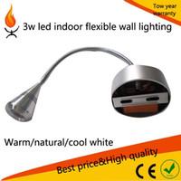 LED AC IP33 Aluminum Hoses Wall lamps Flexible Spot light Bedside bed spot Lamp 1*3w led indoor flexible wall llighting 10pcs lot