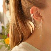 Wholesale Earrings Women New Fashion Gold Silver Plated Alloy Leaf Tassel Earrings Jewelry Elegant Personality Ear Cuff Piece Drop Shipping ER575