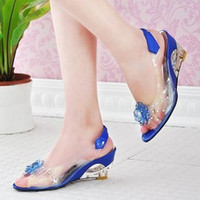 Wholesale EUR Size Factory Price simple fashion transparent wedge heels sandals dress casual shoes ladies sandals