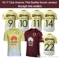 Wholesale 16 Mexico Club America Soccer Jersey Thailand Quality Men C BLANCO home away D BENEDETTO R SAMBUEZA O PERALTA Soccer Uniforms