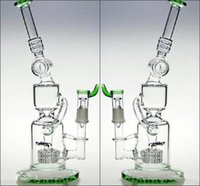 ash delivery - 32cm Tall Smoking Glass Bongs Green Color Tire Percolator Hookahs Honeycomb Ash Catcher Recycler Glass Bongs Fast Delivery
