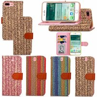apple fiber card - Woven Knit Flower Flip Wallet Leather Case For Iphone Plus I7 Iphone7 Fashion Carbon Fiber Photo Frame Cards Stand Pouch TPU Phone Cover
