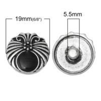 antique enamel buttons - Fashion Snap Button Round Antique Silver Enamel Black Flower Pattern mm Dia Knob Size mm new M69558
