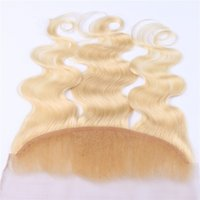613 Oído rubio al cierre frontal del cordón lleno del oído El frente brasileño libre del cordón del pelo humano de la onda del cuerpo de la parte media 3 de la manera 13 * 4