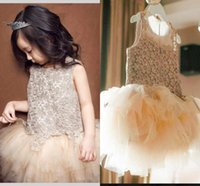 Wholesale 2017 New Tulle Tutu Girls Dresses Summer Baby Girls Princess Dress Mesh Children Kids Girls Clothes Champagne Party Dress Tutu Gowns MC0191