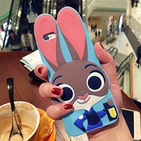 Wholesale Creative D Silicone Cute Bunny Rabbit Judy Hopps Police Zootopia Zootropolis Utopia Animals Case for iPhone5 SE s s plus