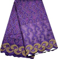 Wholesale yards pc high density African dry cotton lace fabric in purple excellent design Swiss lace fabric for sawing party dress CLH11