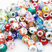 Wholesale 15MM Mixed Color Silver Plated Cord Big Hole Loose Beads Charms Fit Pandora Charms Jewelry Bracelet Findings