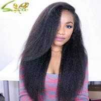 achat en gros de yaki dentelle glueless perruque avant-Perruques Top 7A italienne Yaki Glueless court Bob Full Lace Cheveux Virgin Hair brésilienne Yaki Bob Lace Front Wigs pour les femmes noires