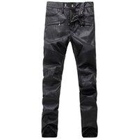 leather motorcycle apparel - Designer Brand Balmain Jeans Leather Punk Stream Motorcycle Apparel Black Jeans Men plus size Robin Jeans for men