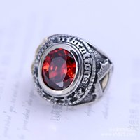 atmosphere sections - Jimei retail jewelry sterling silver jewelry inlaid Ruby wine section stylish atmosphere New Men Ring