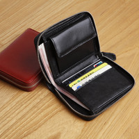 Wholesale Genuine leather zippered around leather wallet simple short cowskin men wallet mini handmade purses hot sale