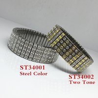 Wholesale Retail Stainless Steel Extension Flexible Cuff Bangles MM Clay With Rhinestone for Women Girl Steel Gold Plated Color