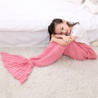 Wholesale Kids Crochet Mermaid Blankets Handmade Mermaid Tail Blankets Mermaid Tail Sleeping Bag Knit Sofa Nap Blankets Costume Cocoon ZD106B