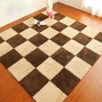 Wholesale XIANGJUN Jigsaw thick carpet bedroom flooring mat Coffee plush suede