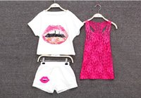Wholesale 1Retail Summer Korean Style New Parent Child Clothing Baby big Girls Piece T shirt Vest Shorts Outfits Chldren Lip Print Suit Clothing