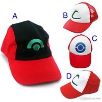 Wholesale Poke Hat style Poke Go Ash Ketchum Trainer Hat Costume Cap Adult Mesh Hat Trucker Hat Caps