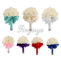 ribbon roses - Top Quality Bridal Wedding Bouquet Wedding Decoration Artificial Bridesmaid Flower Ribbon Rhinestone Beads Rose Bouquet
