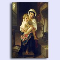 art bouguereau - Hand painted modern wall art home decorative abstract oil painting on canvas Bouguereau Young Mother Gazing At Her Child x36inch Unframed