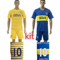Wholesale Customize Uniforms Kit Boca Juniors CARLITOS Home Soccer Jersey Home Blue Yellow Jerseys shirt Discount ShipingCusto