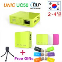 Wholesale Hot lumens Mini Projector Original UNIC UC50 Handheld Micro DLP LED Home Theater Projector Pocket Battery Build in with USB SD AV HDMI
