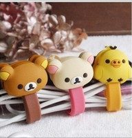 Wholesale Hot selling button type double slider lovers relaxed cute bear chick earphones cable winder for home storage
