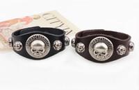 Wholesale New Arrival Wide Leather Bracelet Skull Cuff Bangles Cowboy Rider Harley Motor Cycles Punk Skull Rivet Men Bracelets