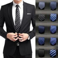 Wholesale Fashion Striped Polyester Silk Ties for Men Slim Necktie Tie Party Wedding Classic Jacquard Woven Business Necktie Tie