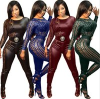 Wholesale Sexy Women S Leather Pants - Sexy Women Hollow Out Tight Jumpsuits 2016 Fashion PU Faux Leather Slim Night Club Irregular Jumpsuits Rompers One Piece Outfits piece pants