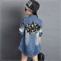 Wholesale Kids Girls Denim Jacket Spring Autumn New Children s Clothing Fashion Slim and Long Sections Trench Coat Tops Girls Princess Long Sleev