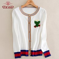 Wholesale Women s Clothing Tees cardigan long sleeves flower embroidery white sweater ladies cardigan autumn Knits Tees