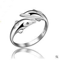 Wholesale Silver ring S925 sterling silver jewellery ring Dolphines opening adjustable ring for women Christmas gift rhodium plating