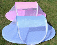 Wholesale Baby Crib With Mosquito Netting Cute Dot Portable Baby Bed cm Kids Bedding Folding Baby Crib With Pillow Cot Kawaii