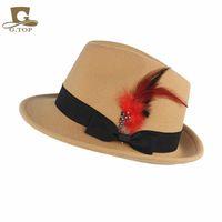 accent accessories - unisex Wool blend felt hat Round Wide Brim Fedora trilby cap Ribbon Feather accent hats