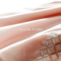 bamboo linen sheets - fresh style silk bamboo fiber bedding sets light orange solid linens Queen King Size sheets sets coverlet