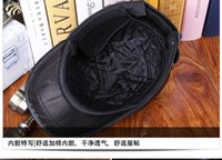 baseball caps and scarves - 5 Pieces dozen leather hat autumn and winter men s sheepskin baseball cap middle aged folder cotton with a protective ear warm hat cap lea