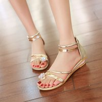 beauty wedge sandal - Bohemia Summer Casual Sandals Low Slope Small Wedges Heels Fashion Luxury Rhinestone Sandals Female Sweet Beauty Shoes