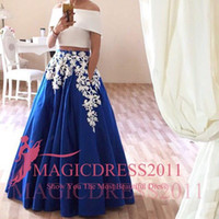 Wholesale Charming Royal Blue Prom Dresses Formal Evening Gowns Arabic Special Occasion Dress A Line Off Shoulder White Appliques Party Celebrity