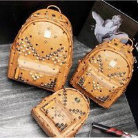 bags for students - New Arrival Fashion School Bags Hot Punk style Men Women Backpack Rivet Crown Student Backpack PVC Leather Lady Bags size for cm