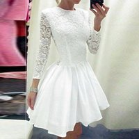 beauty full images - Vestido de Festa White Lace Homecoming dresses A line O neck Full sleeve Fashion Beauty Cheap Women Cocktail Party dress