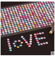Wholesale Colorful Beauty Crystals Rhinestones Car Decor Decal Styling Accessories Mobile pc Art Diamond Diy Self Adhesive Stickers