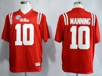 Wholesale 2016 New Ole Miss Rebels Men Jersey Eli Manning Red America College Alumni Mens Football Jersey Embroidery Logos Stitched