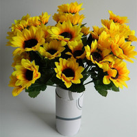 artificial flowers online - Sunflowers Simulation Artificial Display Flower Silk Cloth Material Yellow Home Party Flowers Plant Decoration Online Hot Selling