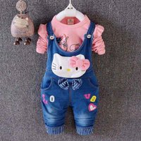 Wholesale Hot sale baby girls new sets spring kids girls long sleeve T shirt cartoon overall pants clothing sets months