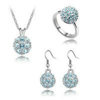 australia stainless steels - Hot Selling Crystal Ball Jewelry Set Australia Natural Crystal Earring Ring Necklace Set Pandora Beads Rhinestone Jewelry