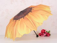 flower umbrella - New Yellow Flower Sunflower Umbrella Folding Umbrellas for Rain and Sun Anti UV Sunshade Umbrella jy666
