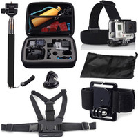Wholesale Accessories Set Kit Chest strap Medium bag Head strap Wrist Strap Mini Case bag Monopod pole Adapter for Gopro Hero4